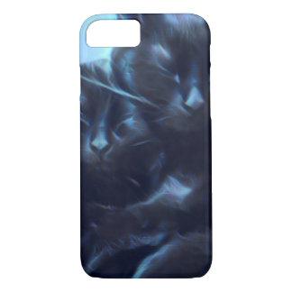 Schwarze Katzen Schlafens, Blau/Schwarzes iPhone 8/7 Hülle
