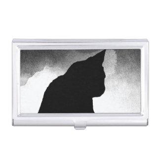 Schwarze Katzen-Silhouette-Geschäfts-Kartenhalter Visitenkarten Dose