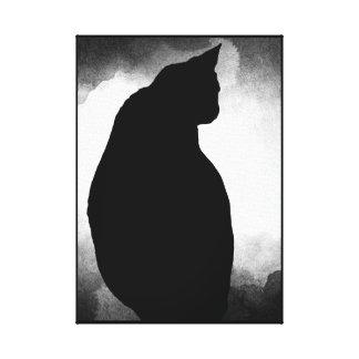 Schwarze Katzen-Silhouette-Leinwand-Druck 15x21 Leinwanddruck