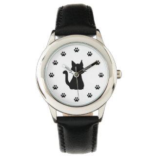 Schwarze Katzen-Silhouette mit den Tatzen als Uhr