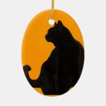 Schwarze Katzen-Silhouette Weinachtsornamente