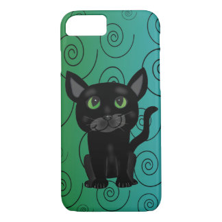 Schwarze Katzen-Spiralen-Entwurf Iphone Fall iPhone 8/7 Hülle