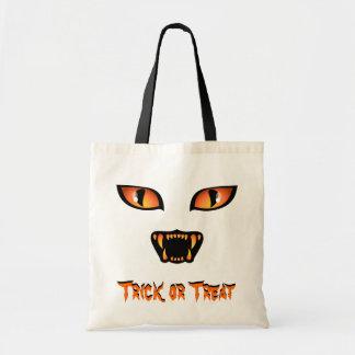 Schwarze Katzen-Taschen-Taschen-Halloweentrick-ode Budget Stoffbeutel