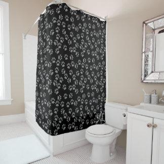 Schwarze Katzen-Tatzen-Druck-Muster-Duschvorhang Duschvorhang