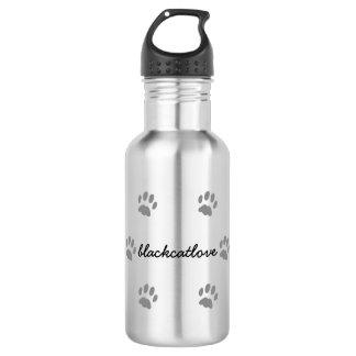 Schwarze Katzen-Tatzen-kundenspezifische Edelstahlflasche