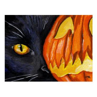 Schwarze Katzen-u. Halloween-Kürbis-Malerei Postkarte