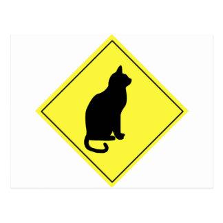 Schwarze Katzen-Überfahrt Postkarte