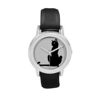Schwarze Katzen-Uhr