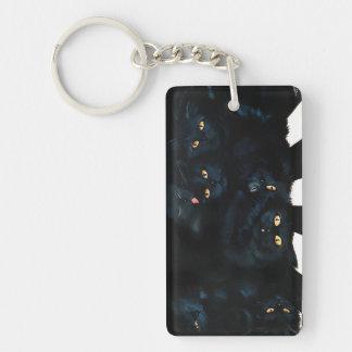 Schwarze Katzen-Umarmung Schlüsselanhänger