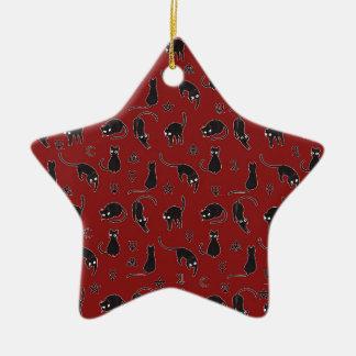 Schwarze Katzen und Hexesymbolmuster Keramik Ornament