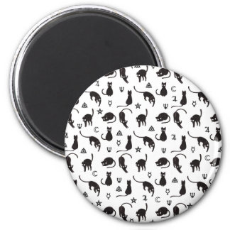 Schwarze Katzen und Hexesymbolmuster Runder Magnet 5,1 Cm