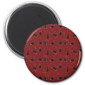 Schwarze Katzen und Hexesymbolmuster Runder Magnet 5,7 Cm