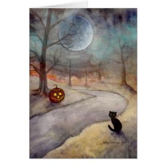 Schwarze Katzen-und Kürbislaterne-Fantasie-Kunst Grußkarte