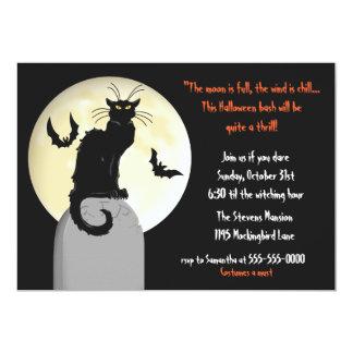 Schwarze Katzen-und Vollmond-Halloween-Party 12,7 X 17,8 Cm Einladungskarte