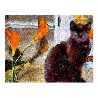 Schwarze Katzen-Van- Goghpostkarte Postkarte