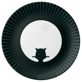 Schwarze Katzen-Vollmond Teller
