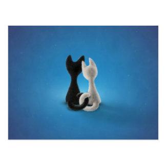 Schwarze Katzen-weiße Katze (Farbe 1) Postkarte