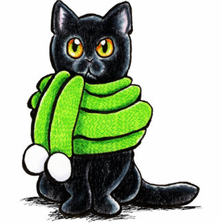 Schwarze Katzen-Winter-Schal Fotoskulptur Magnet