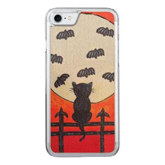 Schwarze Katzen-Zaun-Mond-Schläger Carved iPhone 8/7 Hülle