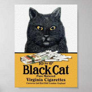 Schwarze Katzen-Zigaretten-Plakat Poster