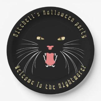 Schwarze Katzen-zischenspaß-Slogan-Pappteller Pappteller