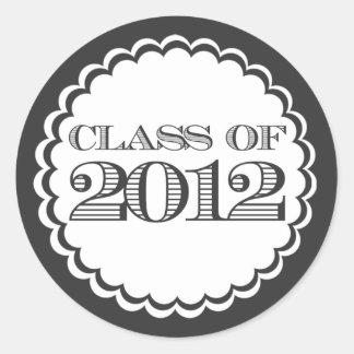 Schwarze Klasse des 2012 Runder Aufkleber