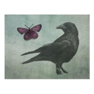 Schwarze Krähen- und Schmetterlingspostkarte