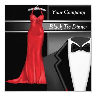 Schwarze Krawatten-Unternehmensabendessen-Party Quadratische 13,3 Cm Einladungskarte