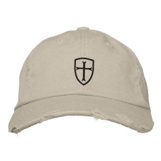 Schwarze Kreuzfahrer-Kreuz-Schild-Kappe Bestickte Baseballkappe