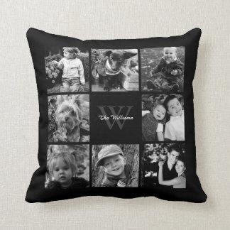 Schwarze kundenspezifische Familien-Foto-Collage Kissen