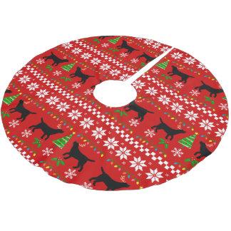 Schwarze Labrador-Geweih-hässliches Polyester Weihnachtsbaumdecke