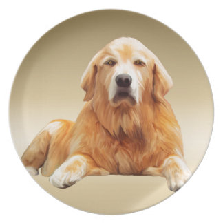 Schwarze Labrador-Hundewasser-Farbkunst-Malerei Melaminteller