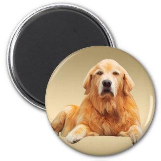 Schwarze Labrador-Hundewasser-Farbkunst-Malerei Runder Magnet 5,7 Cm