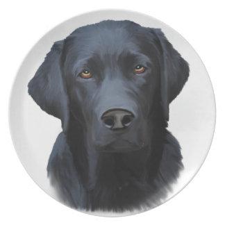 Schwarze Labrador-Hundewasser-Farbkunst-Malerei Teller