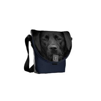 Schwarze Labrador-Porträt-Gammler-Tasche Kurier Tasche