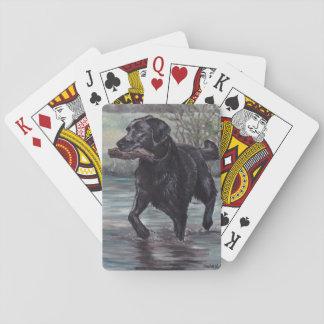 Schwarze Labrador retriever-Hundekunst-Spielkarten Spielkarten