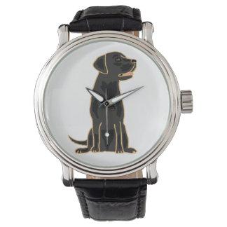 Schwarze Labrador retriever-Kunst-Uhr Armbanduhr