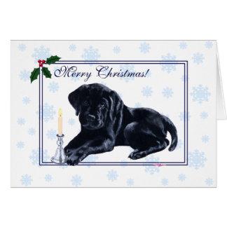 Schwarze Labrador retriever-Weihnachtsschneeflocke Karte