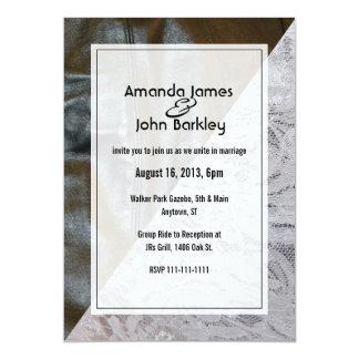 Schwarze Leder-und Spitze-Hochzeits-Einladung 12,7 X 17,8 Cm Einladungskarte