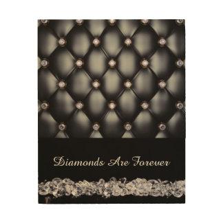 Schwarze lederne Blick-Weiß-Diamanten Holzdruck