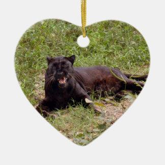 Schwarze Leopard-Weihnachtsverzierung Keramik Ornament
