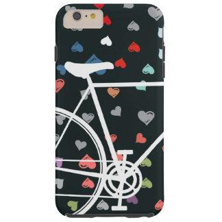 Schwarze Liebeherzen abstraktes Fahrrad Tough iPhone 6 Plus Hülle