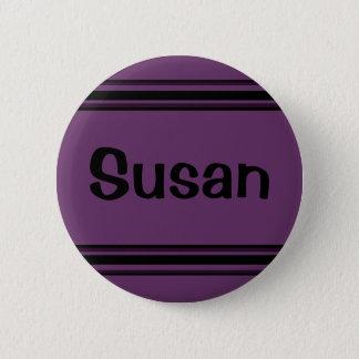 schwarze lila Linien Runder Button 5,1 Cm