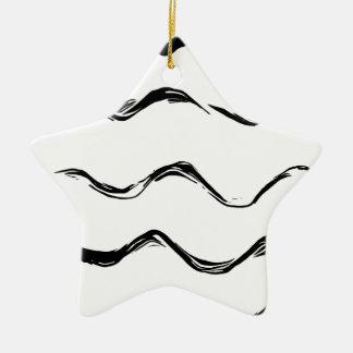 Schwarze Linien Muster Keramik Ornament