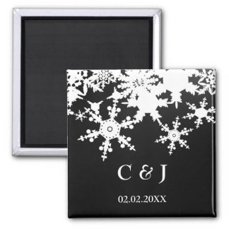 schwarze Magneten der Schneeflocken Save the Date Quadratischer Magnet
