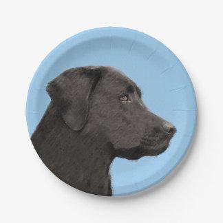 Schwarze Malerei-ursprüngliche Hundekunst Labrador Pappteller
