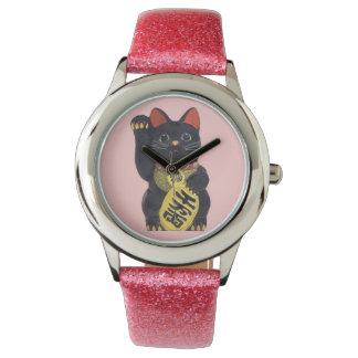 Schwarze Maneki Neko Katzen-Armbanduhr Uhr