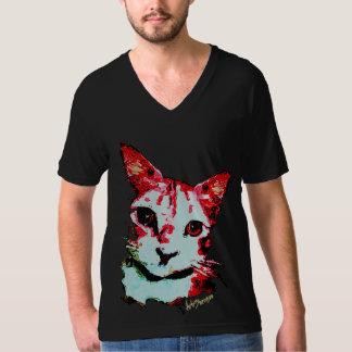 Schwarze Mann-T - Shirt-Rot-Katze T-Shirt