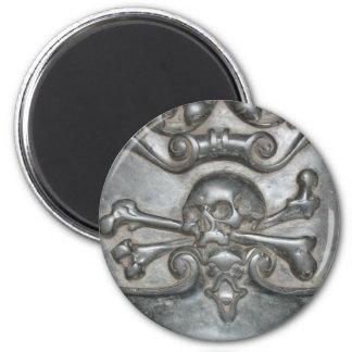Schwarze Marmorschädel-u. Runder Magnet 5,1 Cm