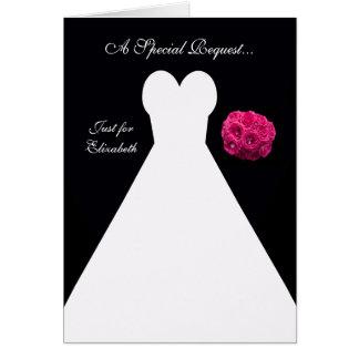 Schwarze Matrone der Ehrenkarte -- Brautkleid Karte